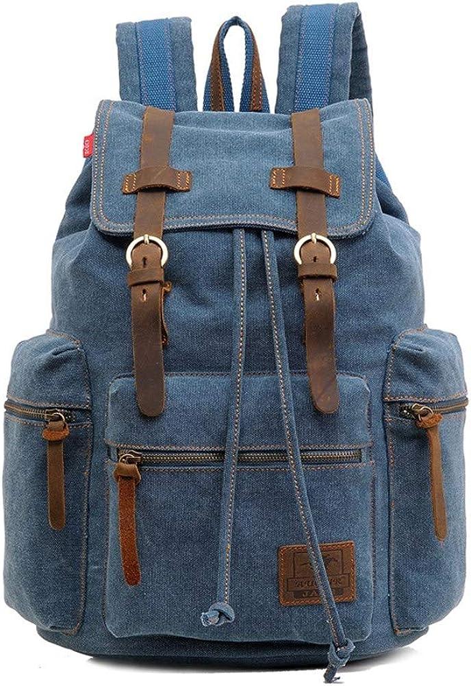 A.OAQRFA Mochila de hombre de moda, mochila de lona vintage, mochila de viaje para hombre, mochila para portátil de gran capacidad, mochila para hombre, 28x16x42cm Azul