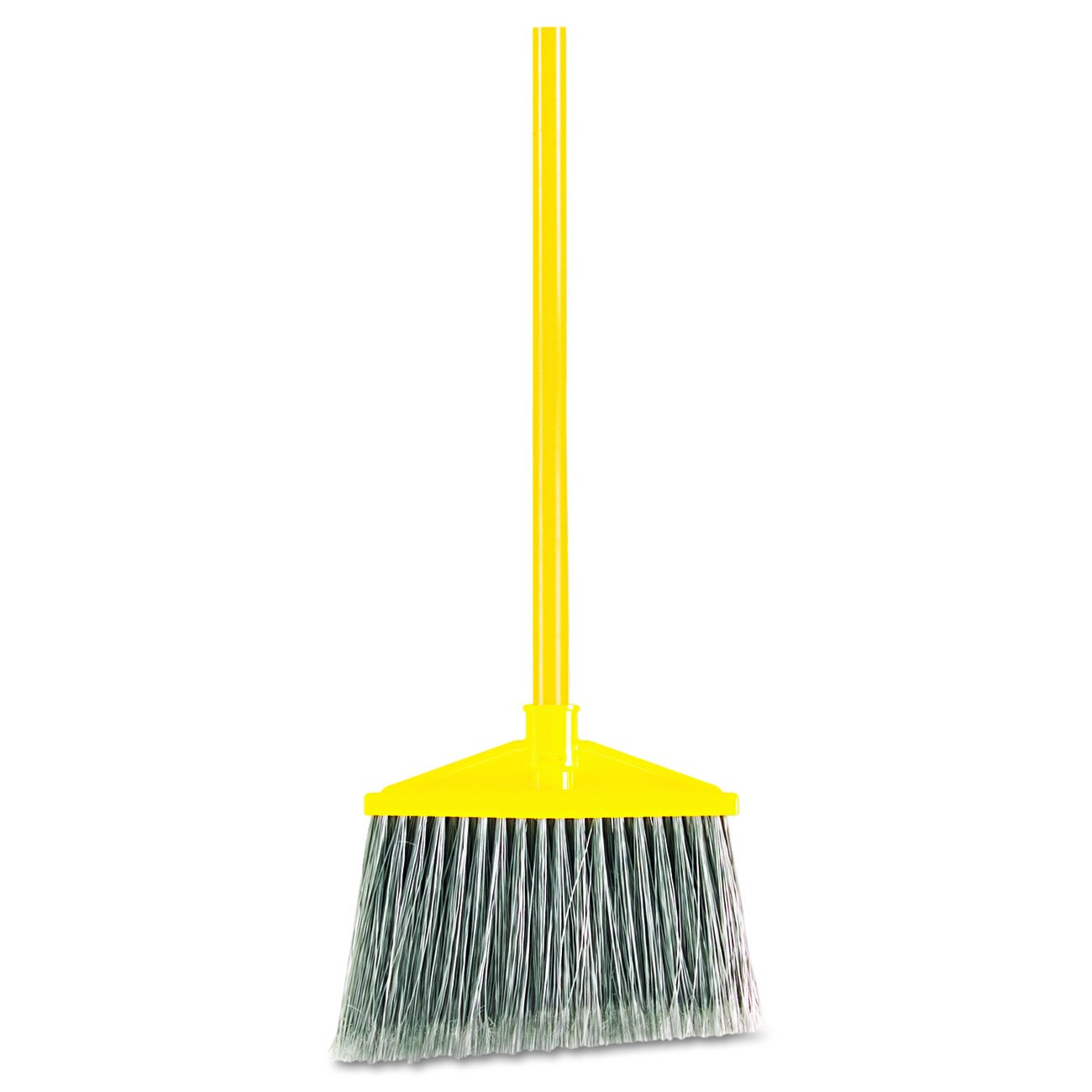 """Rubbermaid Commercial 6375 10-1/2"""" Sweep Face, Gray Color, Polypropylene Fill Flagged-Tip Angle Broom with Vinyl Coated Metal Handle"""