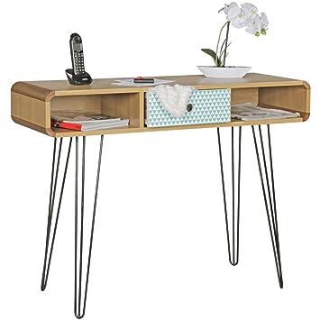 FineBuy Konsolentisch KUUSAMO mit Schublade Retro Design Holz 100 x ...