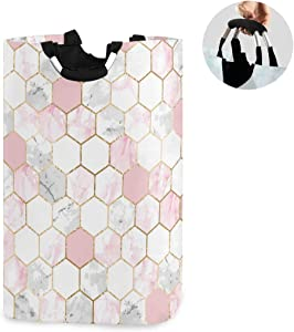 ALAZA Large Laundry Hamper Basket White & Pink Marble Honeycomb Hive Laundry Bag Collapsible Oxford Cloth Stylish Home Storage Bin with Handles, 22.7 Inch