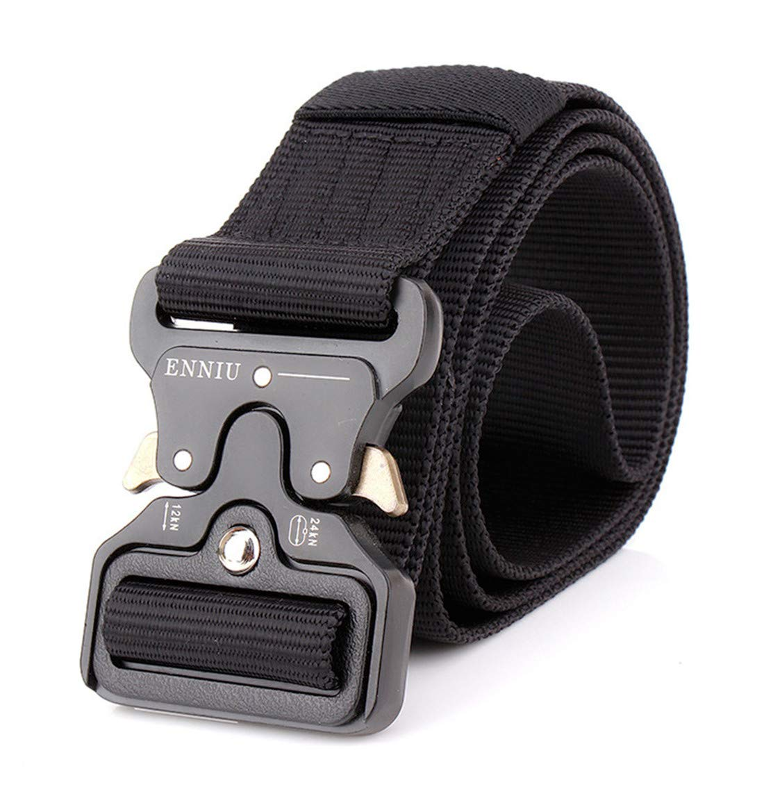 Black, Belt Width: 5CM//1.97 49 ENNIU Men Tactical Buckle Belt Heavy Duty Metal Buckle Military Webbing Nylon Belt Training Strap