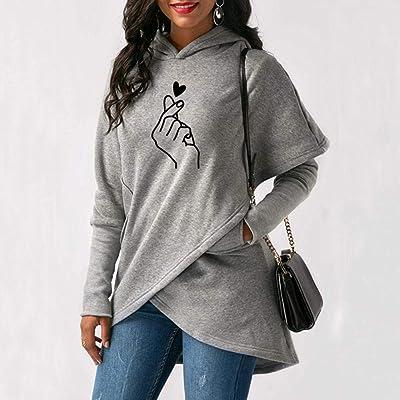 Suéter con Capucha de Lana suéter con Capucha con Estampado Irregular de otoño e Invierno de Manga Larga para Mujer @ Grey_M: Ropa y accesorios