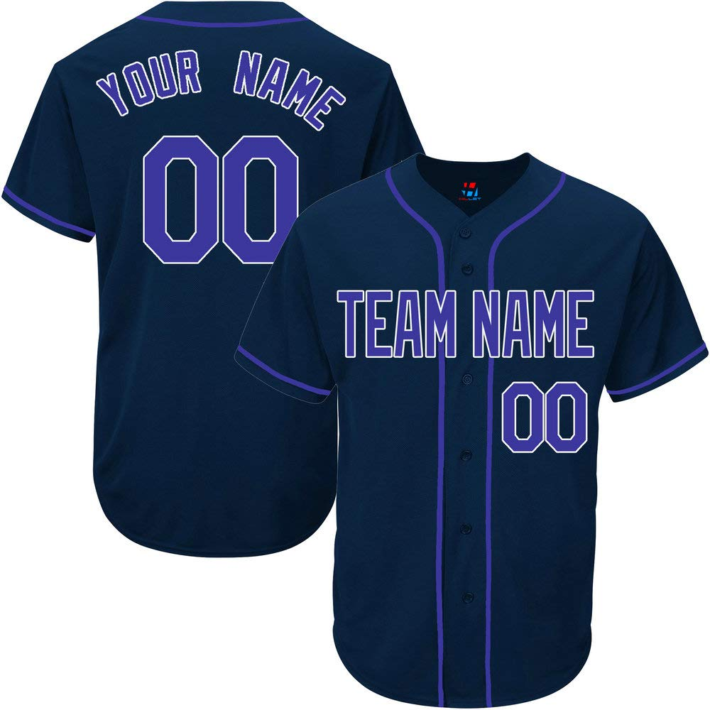 Navy Custom Baseball Jersey for Men Throwback Embroidery Team Player Name & Numbers,Blue-White Size L by Pullonsy