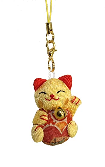 Lucky Cat Smartphone Cell Phone Charm (Yellow/Red)