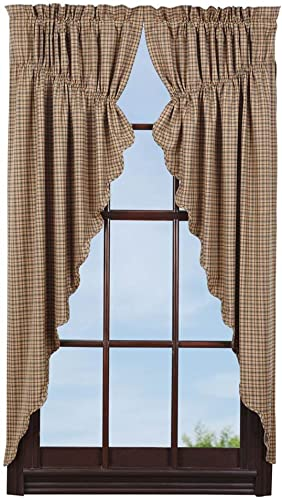 VHC Brands Millsboro Prairie Short Panel Scalloped Set of 2 63x36x18 Country Rustic Curtains