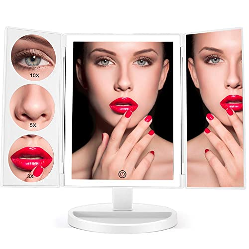 Large Lighted Vanity Makeup Mirror X-Large Model , Funtouch Led Lighted Desk Mirror with 44 LED Lights, Dimmable Touch Screen and 10X Magnification Mirror, 360 Rotation Tabletop Cosmetic Mirror
