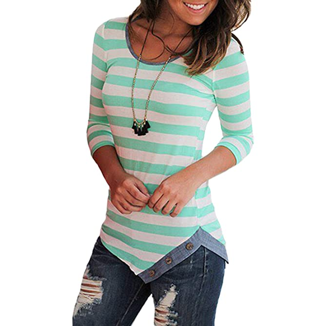 6824c508a018 Primavera e Autunno Donna Irregolare Cime Casual Rotondo Collo Maglie a Manica  Lunga T-Shirt Bluse Moda Slim Tops a Righe Maglietta Camicie Jumper Tee: ...