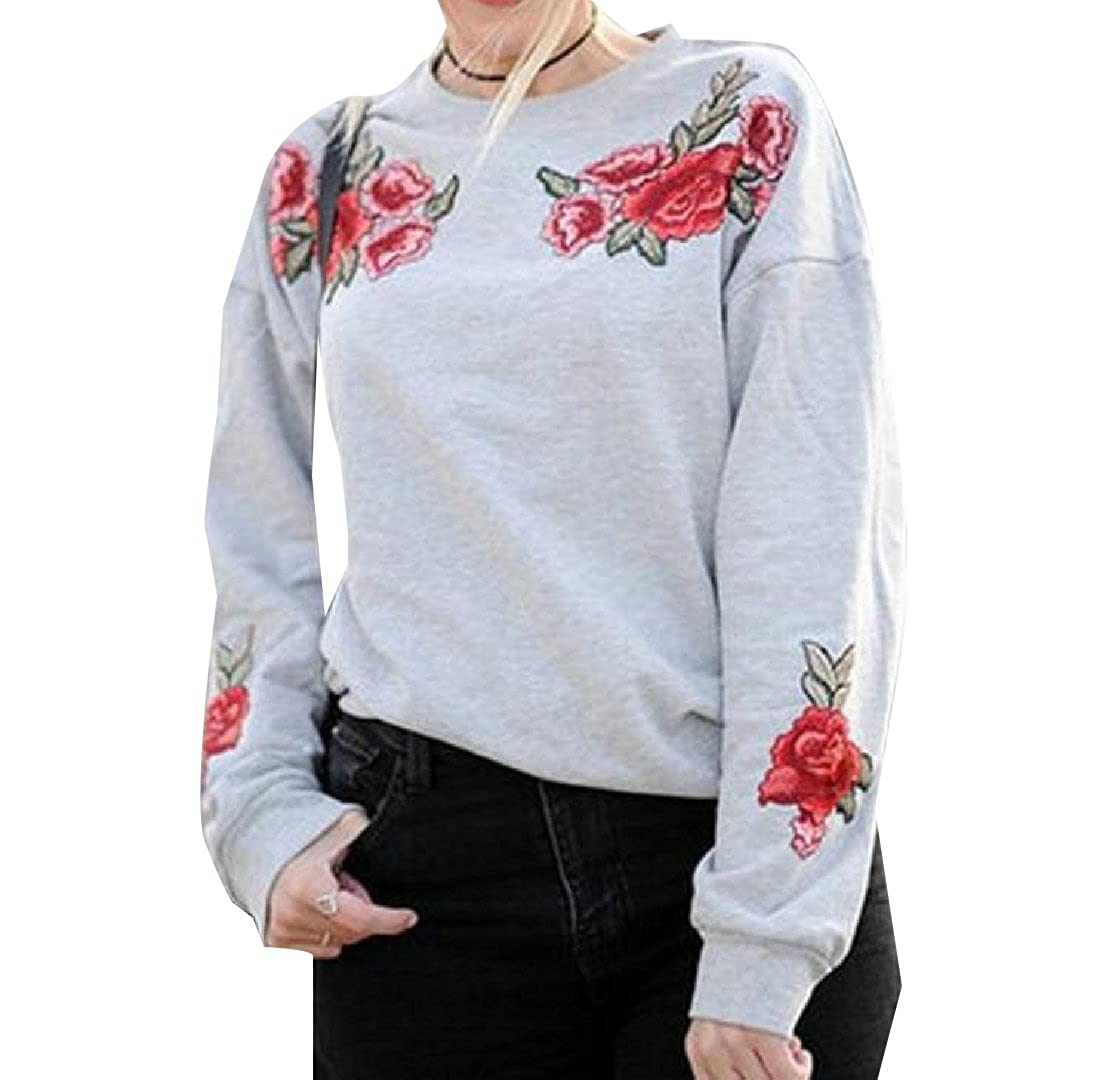 Honey GD Womens Slim Crew Neck Rose Embroidery Solid Color Tracksuit