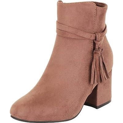 Cambridge Select Women's Western Tassel Chunky Block Mid Heel Ankle Bootie | Ankle & Bootie