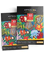 ARTEZA Bloc de Papier Aquarelle A4 200 g/m2 pour Enfant, Chaque bloc aquarelle 21 x 29,7 cm, 2 x 30 feuilles, Papier blanc pressé à froid, Parfait pour peinture aquarelle et techniques mixtes