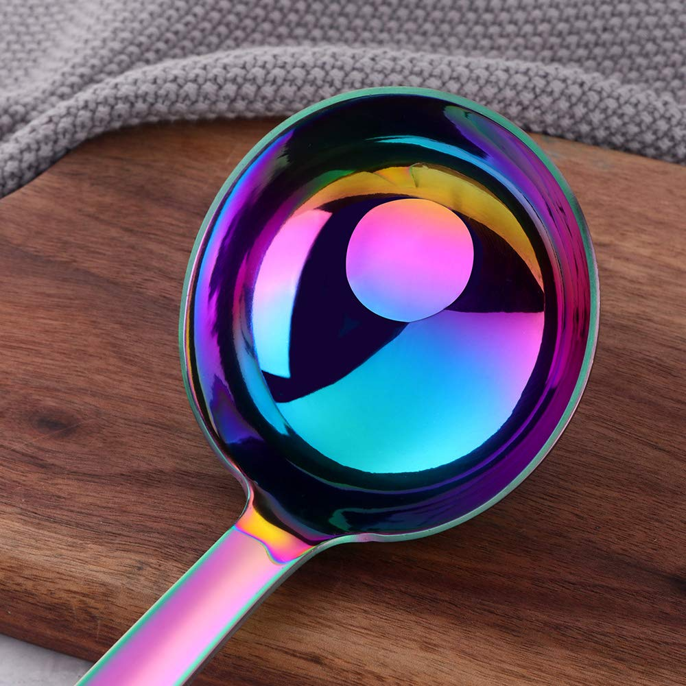 Mirror Polish /& Dishwasher Safe Sauce Ladle Stainless Steel Kitchen Utensil FDA Approve Rainbow BuyGo Drizzle Spoon with Spout Gravy Soup Ladle 8.67 inch