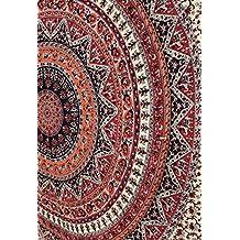 Hippie Mandala Intricate Floral Design Indian Bedspread Tapestry 84x90 Inches,(215cmsx230cms) Orange& Black