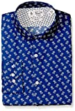 Original Penguin Men's Slim Fit Performance Spread Collar Printed Dress Shirt, Blue Palm Print, 16 32/33