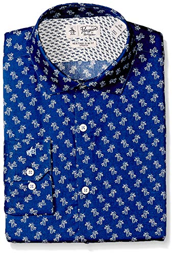 Original Penguin Men's Slim Fit Performance Spread Collar Printed Dress Shirt, Blue Palm Print, 16 32/33 by Original Penguin