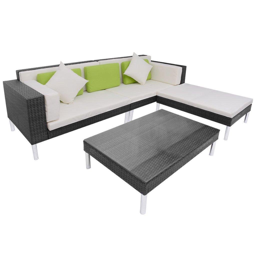 vidaXL 17-tlg. Poly Rattan Gartenmöbel Sofa Set Sitzgruppe Lounge ...