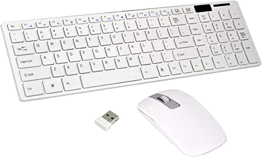 Slim TRIXES Wireless Keyboard Space Grey Set for PC Laptop Cordless Optical Mouse