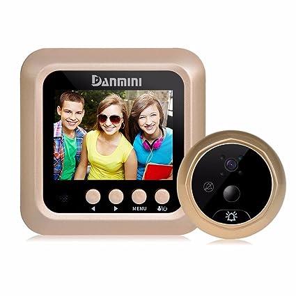 Timbre y mirilla de puerta con cámara de seguridad LCD, cámara HD con gran angular