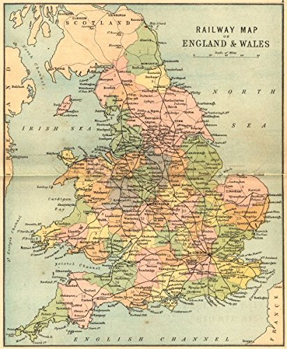 Map Of England And Wales.Amazon Com England Wales Rail Map Philip 1873 Old Map