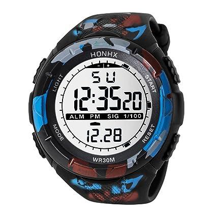Diadia Reloj digital deportivo para hombre con LED de caucho, resistente al agua, alarma