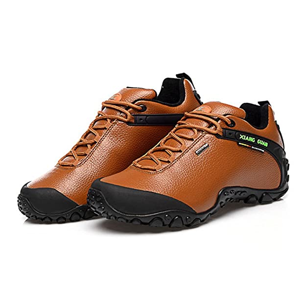 Xiang Guan Damen Low-top Lace-up Leder Wasserdicht Outdoorschuhe Sport Camping Wandern Walking Trekking Schuhe (39 EU, Coffee)