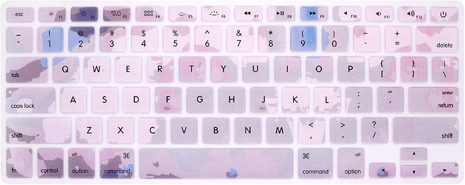 HRH Silicone Keyboard Cover Skin for MacBook Air 13,MacBook Pro 13/15/17 (with or w/Out Retina Display, 2015 or Older Version)&Older iMac USA Layout,Marble Pink