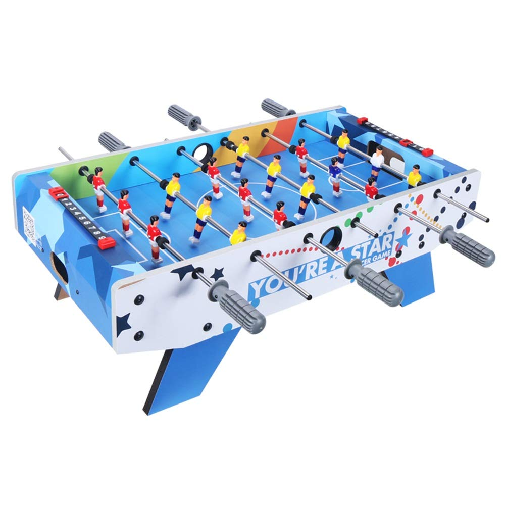Foosball Table Soccer Game for Kids and Adults Ergonomic Handles (Color : Blue, Size : 69.5x36.5x24cm) by Forgiven