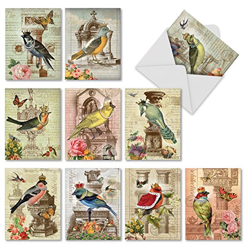 - M2343OCB ROYAL BIRDS: 10 Assorted Blank Note Cards: 10 Assorted Blank All Occasions Cards, with Envelopes