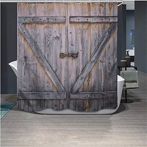 Rustic Country Barn Wood Door Shower Curtain,Waterproof Polyester Fabric Bath Curtain Design,70x78-Inch (Slate Green Shower Curtain)