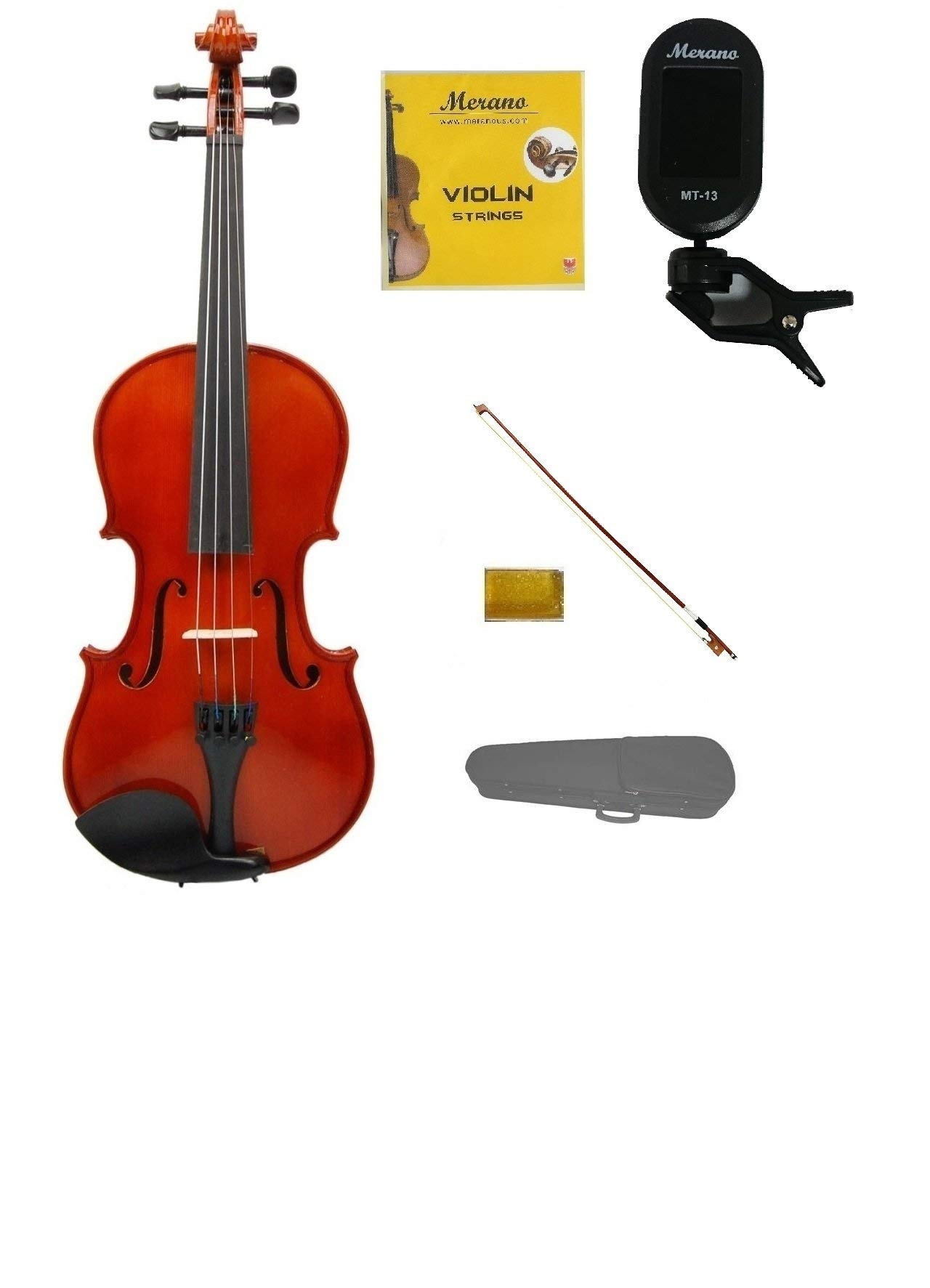 Merano 1/4 Size Acoustic Student Violin with Hard Case and Bow+Free Rosin+Extra Set of Strings+Merano Chrometic Clip On Tuner