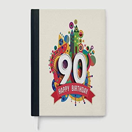 Casebound Hardcover Notebook90th Birthday DecorationsComposition Book NotebookFunky Pop Geometrical