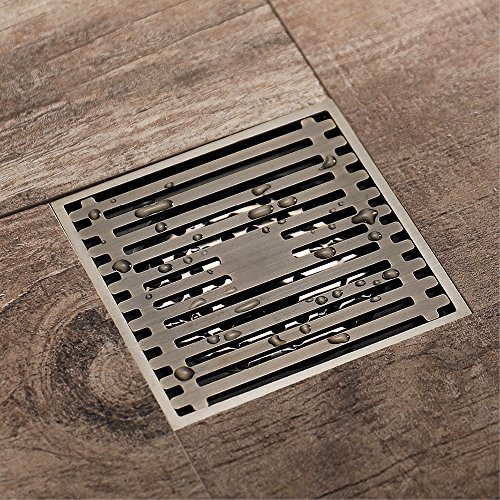 Shower Floor Drain Square Tile Insert 4-Inch Pure Cupper Brushed Grate Strainer With Removable Cover Anti-Clogging, High-Grade Bronze Floor Drain by YJZ (Image #1)