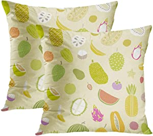 Sgvsdg Fruit Set of 2 Throw Pillow Covers Exotic Sweet Fruit Soursop Annon Custard Guav Indonesi Orange Apple Square Hidden Zipper Home Sofa Living Room Cushion Decor Pillowcases 18 x 18 Inch