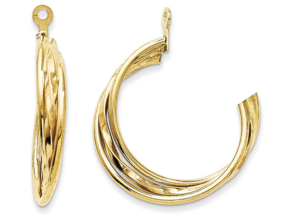 14k Yellow Gold Polished Hoop Earring Jackets