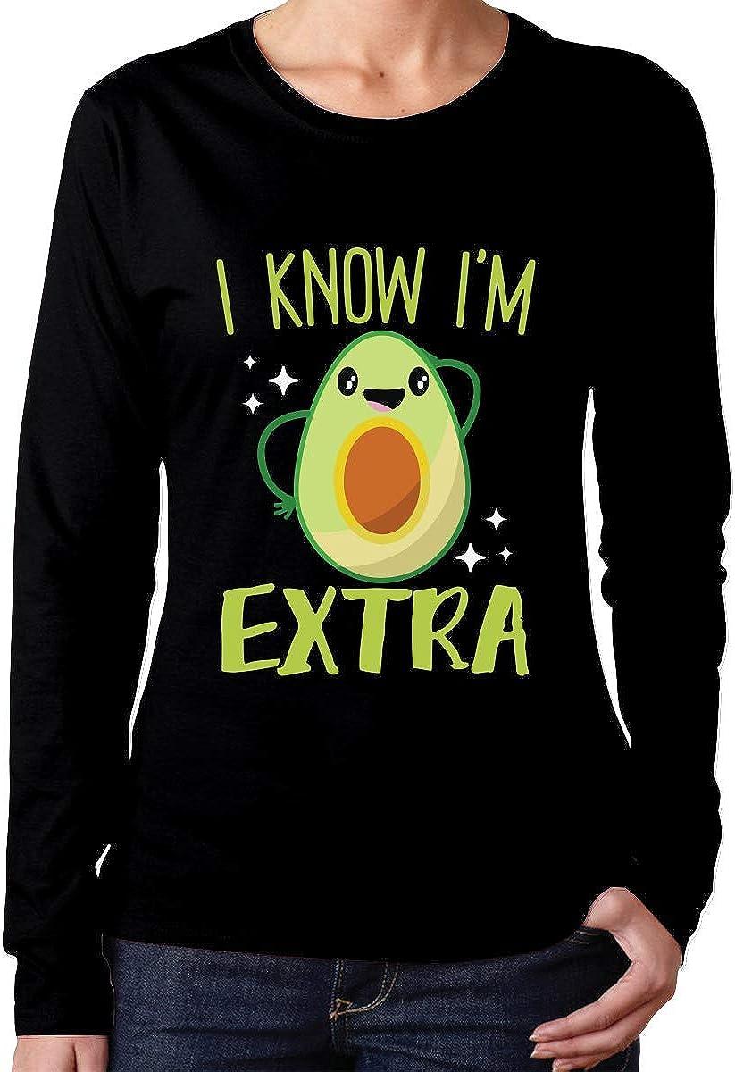 Aguacate Im Extra Guacamole 1 Camiseta de algodón Comfortsoft de Manga Larga para Mujer: Amazon.es: Ropa y accesorios