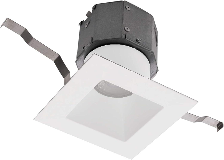 WAC Lighting R4DSDR-F930-WT Pop-in 4in Square Recessed Kit 3000K in White LED Light Fixture, Single