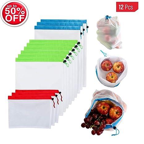 Amazon.com: HUOLEI 12 bolsas de malla reutilizables de alta ...
