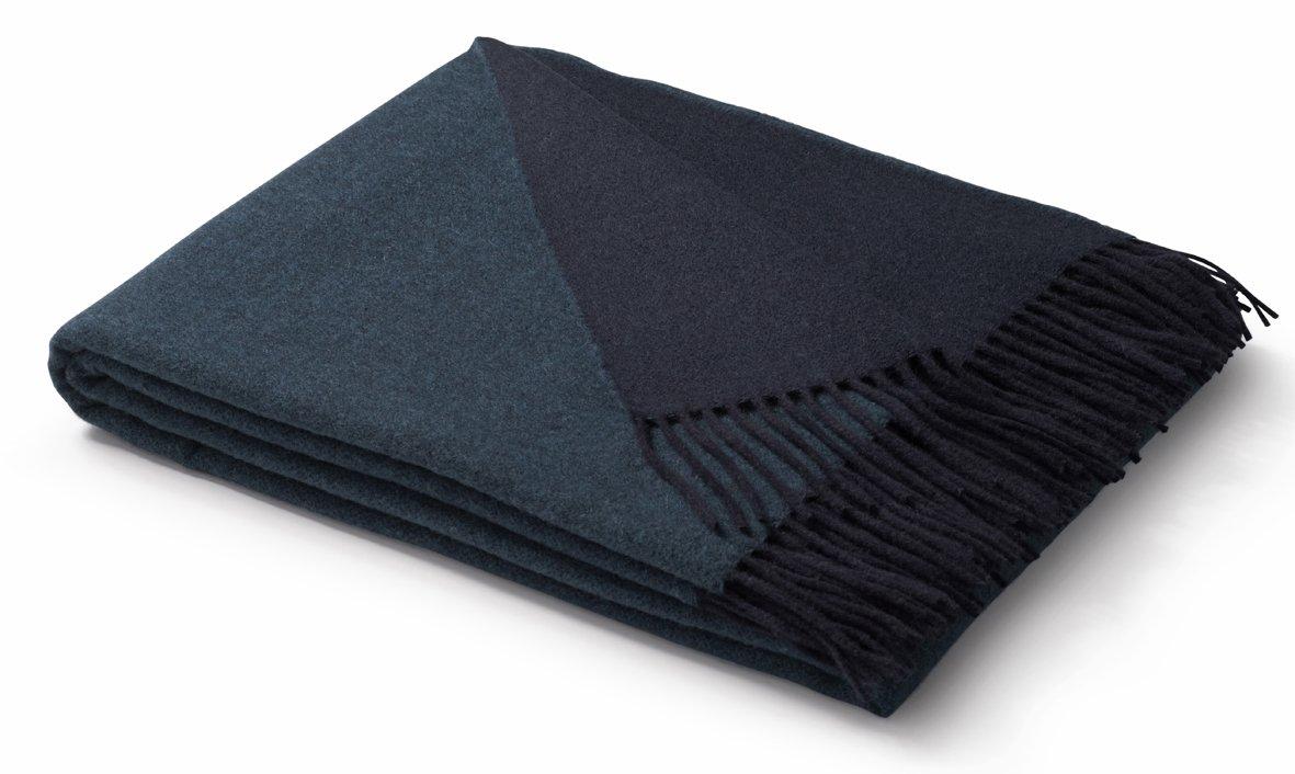 """Biederlack® Tagesdecke """"Wool-Mix  aus Wolle und Kaschmir in dunkelblau-türkis mit Fransen, Plaid in 130x170cm"""