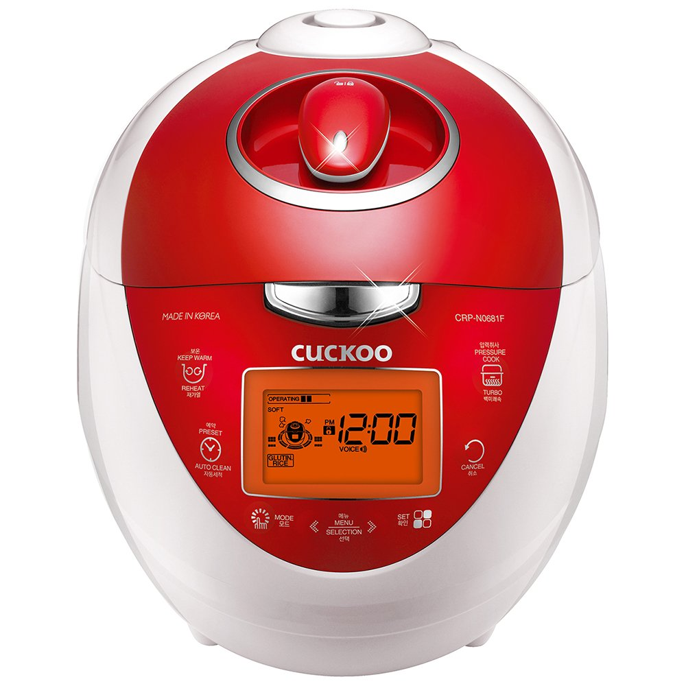 Cuckoo CRP-N0681FV Multifunctional Programmable Electric Pressure Rice Cooker 6 Cup Diamond Coated Pot Fuzzy Logic Intelligent Cooking, 3 Language Voice Navigation, Vivid Red