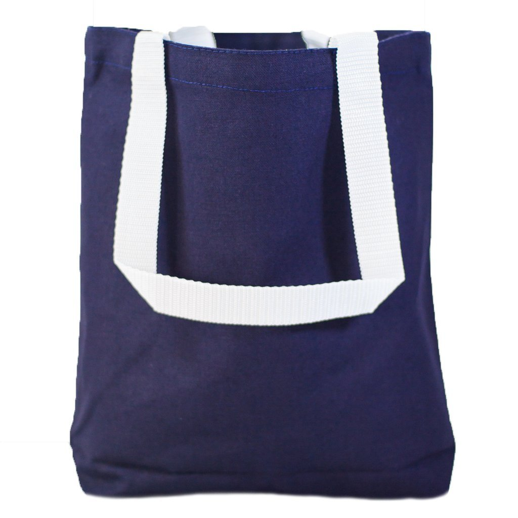 775aa5d98 Amazon.com: Multipurpose Cotton Canvas Tote Bags with White Handles (Small,  Medium, Large ) (Medium, Navy): Kitchen & Dining