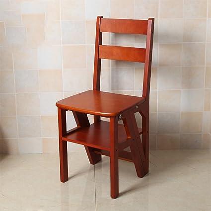 Amazon.com: Taburete de madera maciza escalera plegable ...