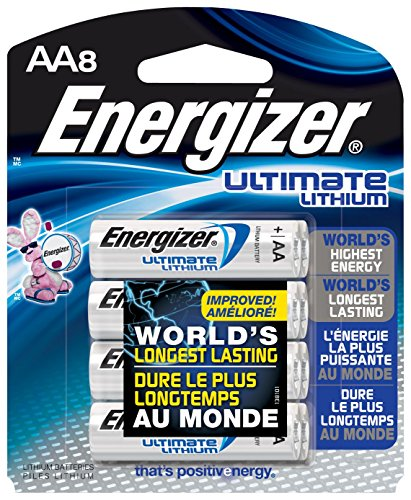 Price comparison product image Energizer L91BP-8 Ultimate Lithium AA Batteries (8-Pack)