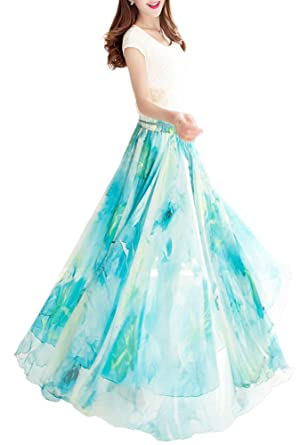 c33b4a7d7a Afibi Womens Blending Chiffon Retro Long Maxi Skirt Vintage Dress (Small,  Pattern 105)