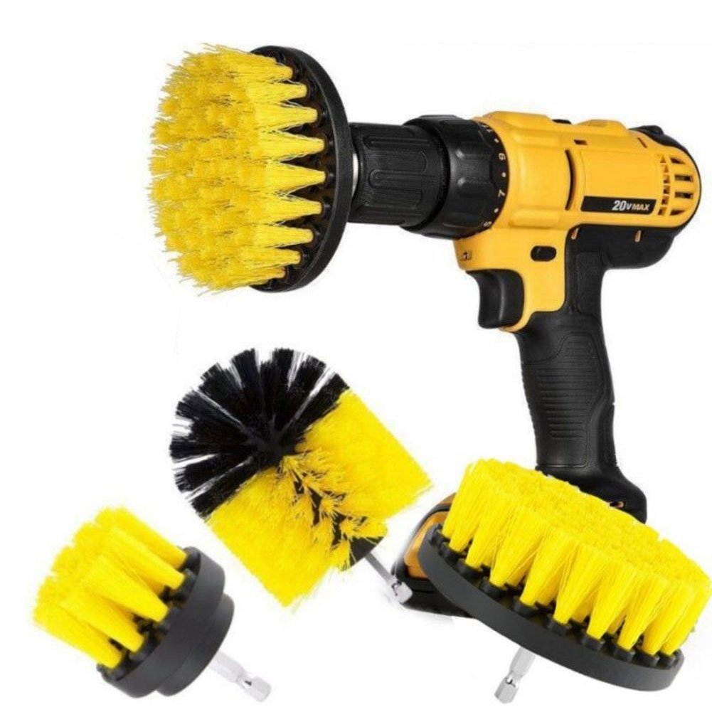 3Pcs/Set Cleaning Drill Brush Wall Tile Grout Power Scrubber Tub 2/3.5/4 inch Cleaner Combo for Cleaning Furniture, Kitchen, Flooring, Brick, Grout, and Much More(Yellow)