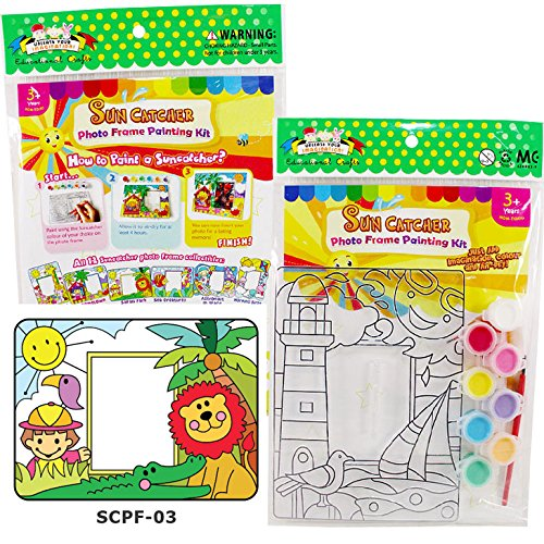 Creating your Own Sun Catcher Photo Frame Painting Kit Handmade Craft for Children, Girls and Boys with SCPF-03 Boy/Lion/Crocodile - How Frames Paint Glasses To