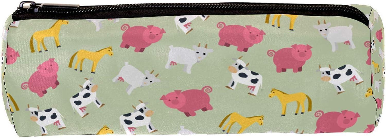 Cartuchera Vacas, caballos, cerdos y ovejas Estuche para lápices encantador Estuche para lápices de gran capacidad para niños adolescentes, niñas, estudiantes, niños 20x6.3cm