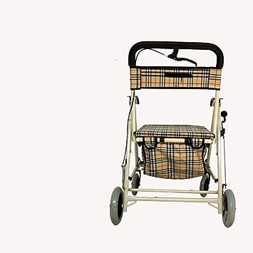 Carrito de la compra metálico edad plegable carro de supermercado Casual con pedal ayuda Walker con Asiento Acolchado: Amazon.es: Hogar