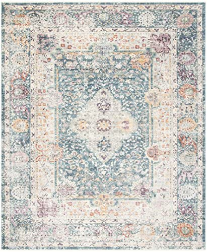 Safavieh Illusion Collection ILL704K Teal and Cream Area Rug 8 x 10