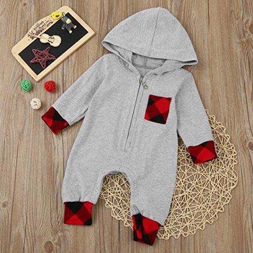 Omiky® Neugeborenes Säuglingsbaby-Mädchen-Plaid-mit Kapuze Spielanzug-Overall-Ausstattungs-Kleidung Grau