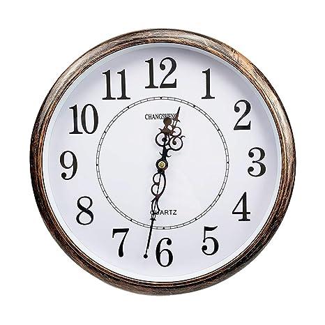 ufengke Reloj de Pared Vintage Silencioso Color Bronce Reloj Quartz Redondo Numeros Grande para Salon Comedor
