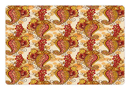 Ambesonne Asian Pet Mat for Food and Water, Traditional Asian Paisley in Colors Floral Ornamental Religious Cultural Art, Rectangle Non-Slip Rubber Mat for Dogs and Cats, Orange Yellow Red